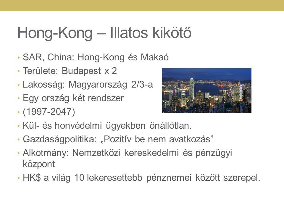 Hong-Kong – Illatos kikötő SAR, China: Hong-Kong és Makaó Területe: Budapest x 2 Lakosság: Magyarország 2/3-a Egy ország két rendszer (1997-2047) Kül- és honvédelmi ügyekben önállótlan.