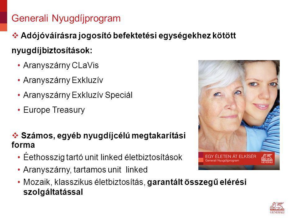 Generali Nyugdíjprogram  Adójóváírásra jogosító befektetési egységekhez kötött nyugdíjbiztosítások: Aranyszárny CLaVis Aranyszárny Exkluzív Aranyszár