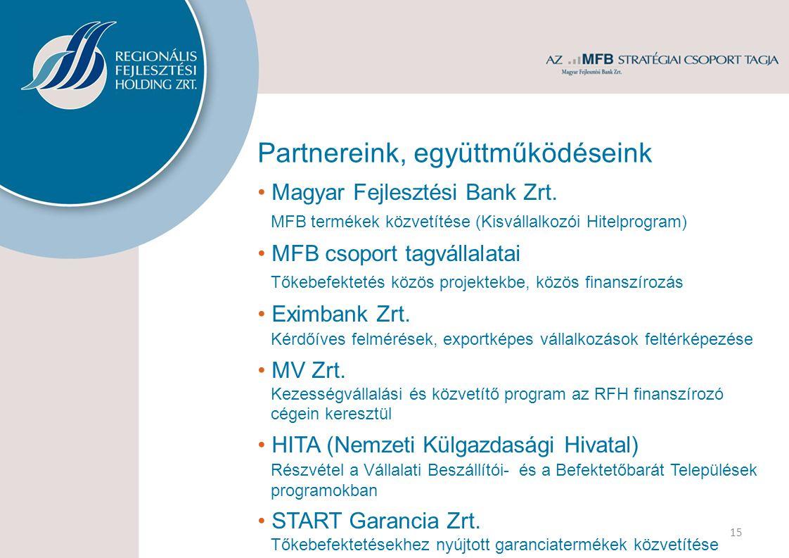 Partnereink, együttműködéseink 15 Magyar Fejlesztési Bank Zrt.