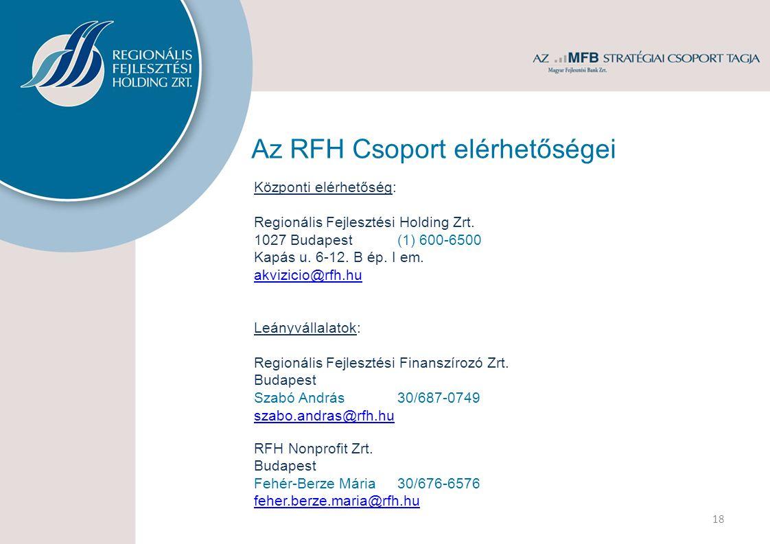 Az RFH Csoport elérhetőségei Központi elérhetőség: Regionális Fejlesztési Holding Zrt.