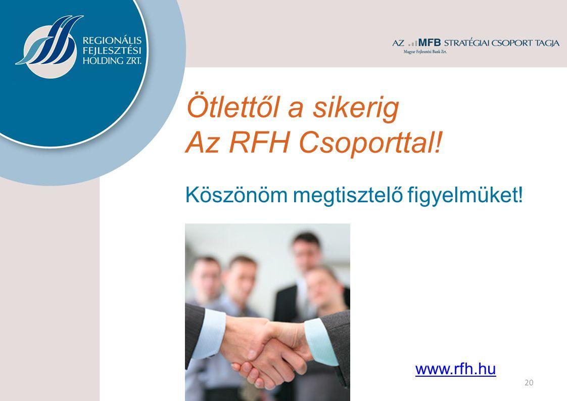 Ötlettől a sikerig Az RFH Csoporttal! Köszönöm megtisztelő figyelmüket! www.rfh.hu 20
