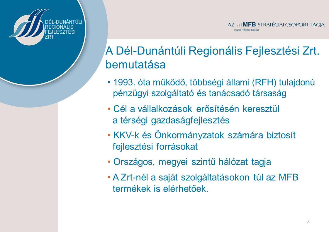 A Dél-Dunántúli Regionális Fejlesztési Zrt. bemutatása 1993.
