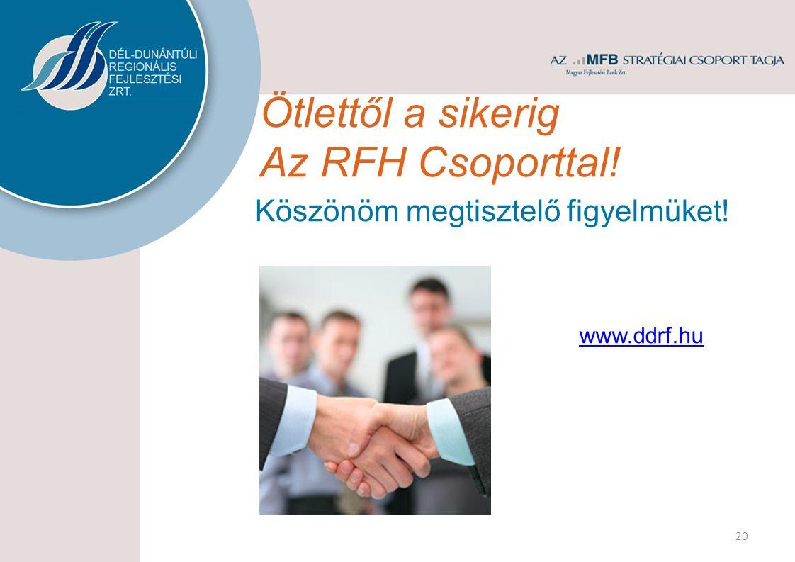 Ötlettől a sikerig Az RFH Csoporttal! Köszönöm megtisztelő figyelmüket! www.ddrf.hu 20