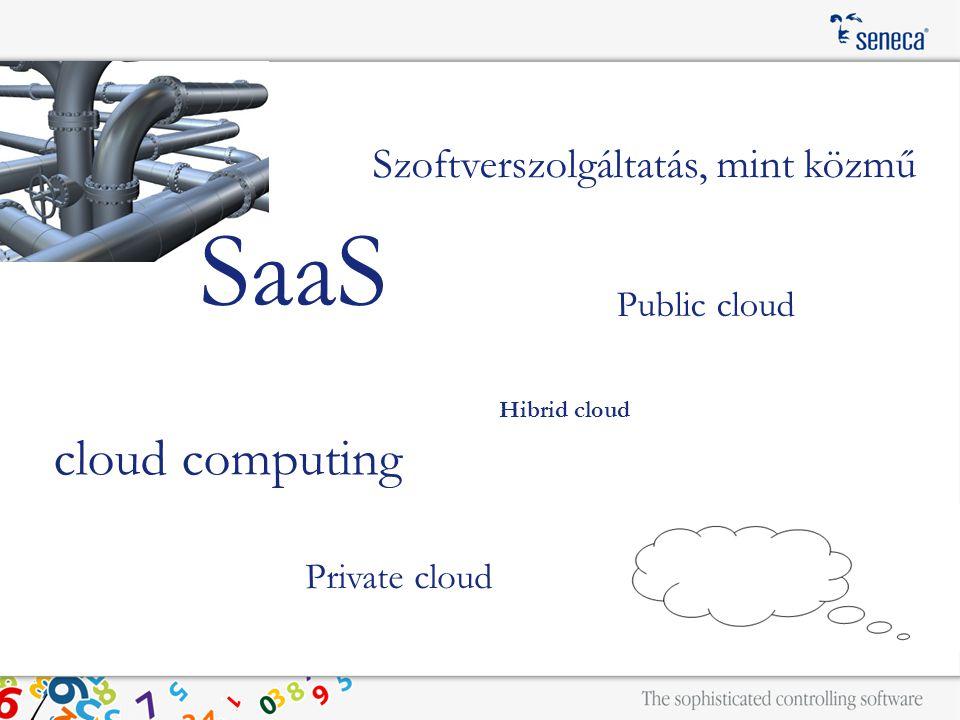 Szoftverszolgáltatás, mint közmű cloud computing SaaS Public cloud Private cloud Hibrid cloud
