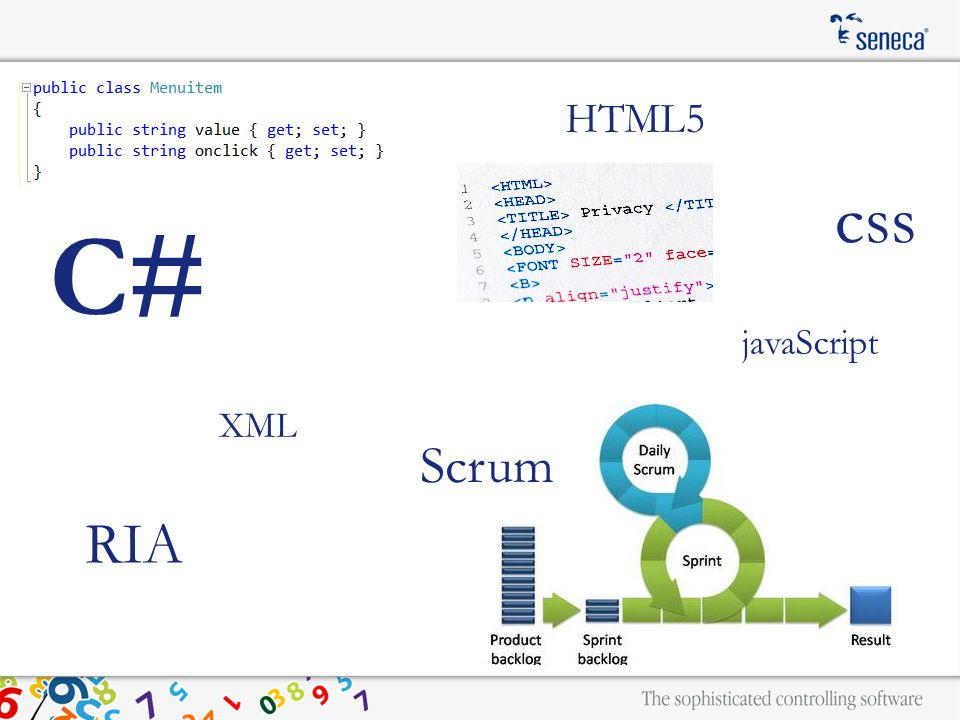 HTML5 Scrum RIA javaScript XML C# css