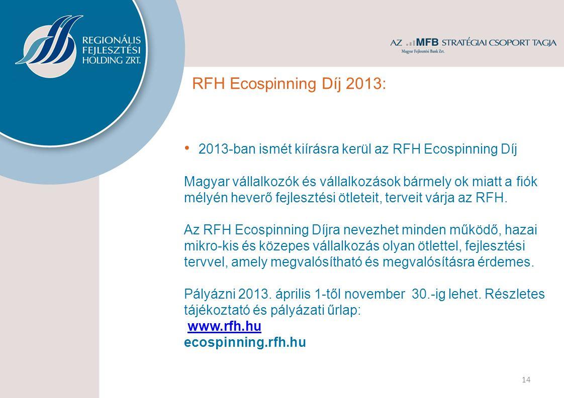 RFH Ecospinning Díj 2013: 2013-ban ismét kiírásra kerül az RFH Ecospinning Díj Magyar vállalkozók és vállalkozások bármely ok miatt a fiók mélyén heverő fejlesztési ötleteit, terveit várja az RFH.
