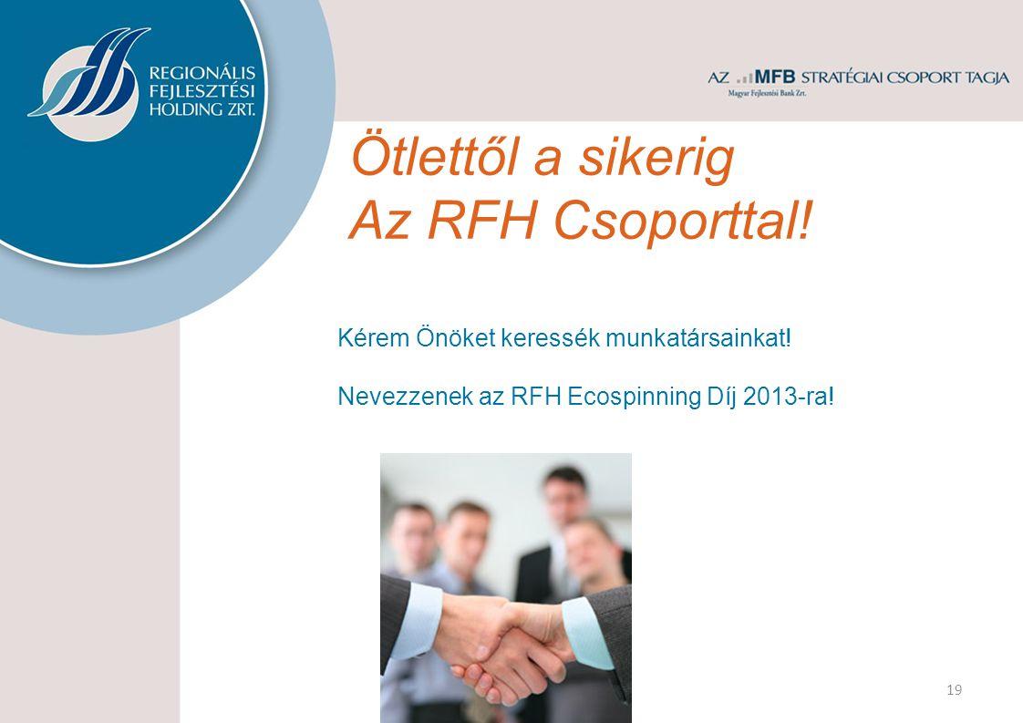 Ötlettől a sikerig Az RFH Csoporttal! 19 Kérem Önöket keressék munkatársainkat! Nevezzenek az RFH Ecospinning Díj 2013-ra!