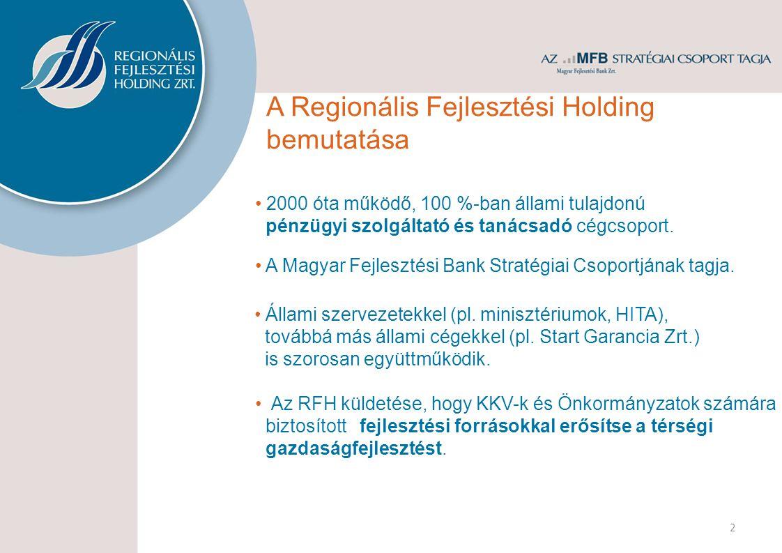 2000 óta működő, 100 %-ban állami tulajdonú pénzügyi szolgáltató és tanácsadó cégcsoport. Az RFH küldetése, hogy KKV-k és Önkormányzatok számára bizto