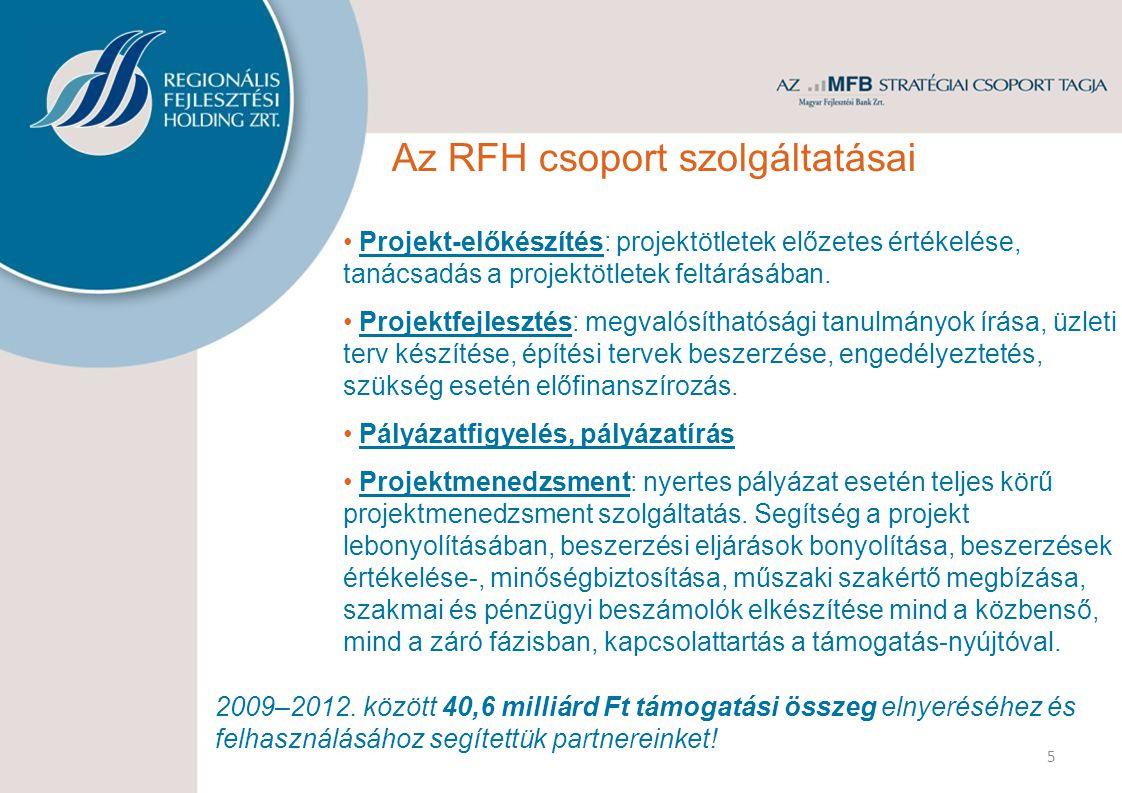 5 Az RFH csoport szolgáltatásai Projekt-előkészítés: projektötletek előzetes értékelése, tanácsadás a projektötletek feltárásában. Projektfejlesztés: