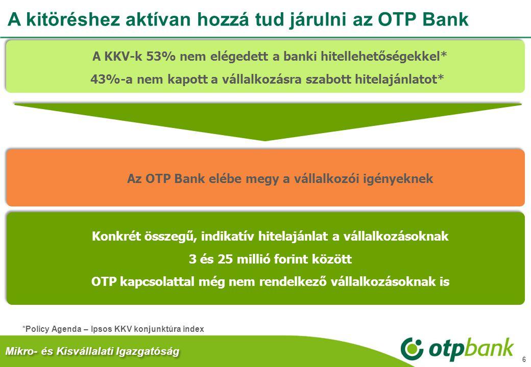 A kitöréshez aktívan hozzá tud járulni az OTP Bank 6 *Policy Agenda – Ipsos KKV konjunktúra index Mikro- és Kisvállalati Igazgatóság A KKV-k 53% nem e