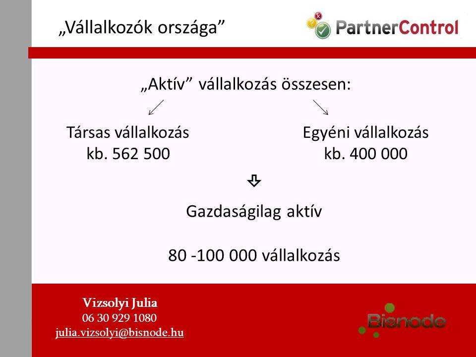 """""""Vállalkozók országa"""" """" Aktív"""" vállalkozás összesen: Társas vállalkozás kb. 562 500 Egyéni vállalkozás kb. 400 000 Gazdaságilag aktív 80 -100 000 váll"""