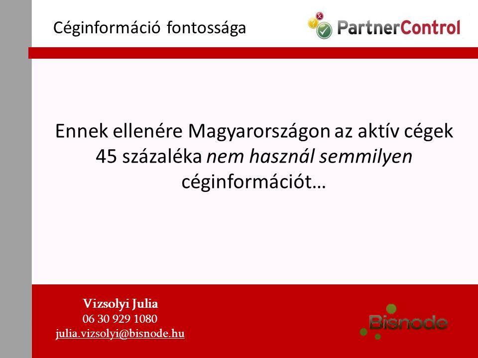 Céginformáció fontossága Ennek ellenére Magyarországon az aktív cégek 45 százaléka nem használ semmilyen céginformációt… Vizsolyi Julia 06 30 929 1080