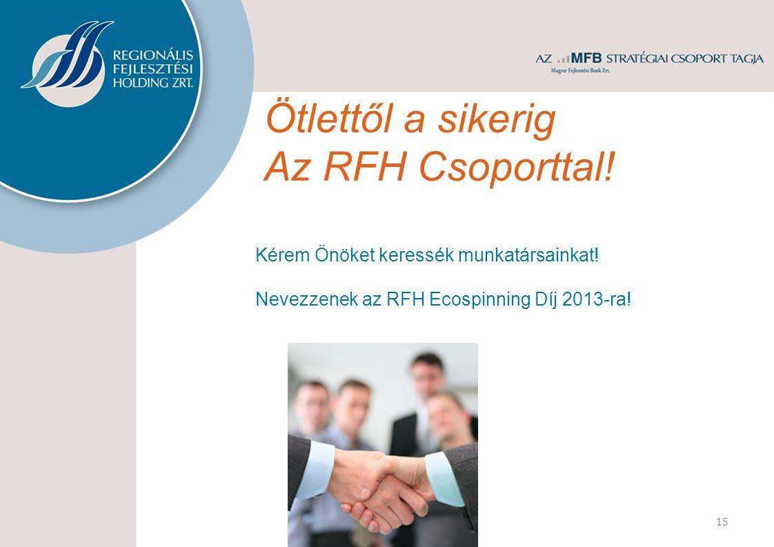 Ötlettől a sikerig Az RFH Csoporttal! 15 Kérem Önöket keressék munkatársainkat! Nevezzenek az RFH Ecospinning Díj 2013-ra!
