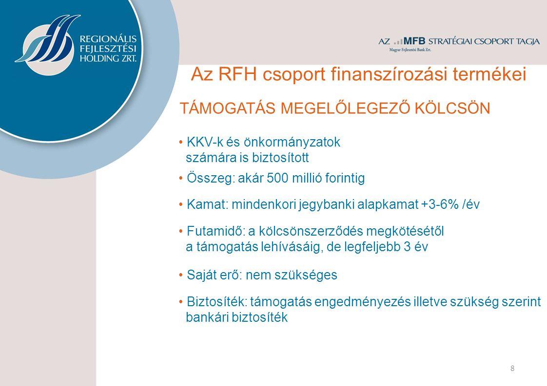 FEJLESZTÉSI HITEL Beruházások finanszírozása és önerő megelőlegezése KKV-k és önkormányzatok számára Összeg: akár 500 millió forintig Kamat: mindenkori jegybanki alapkamat +3-10%/év Futamidő: 3-7 év Türelmi idő: legfeljebb 2 év Saját erő: legalább 20% 9 Biztosíték: bankári biztosíték Az RFH csoport finanszírozási termékei