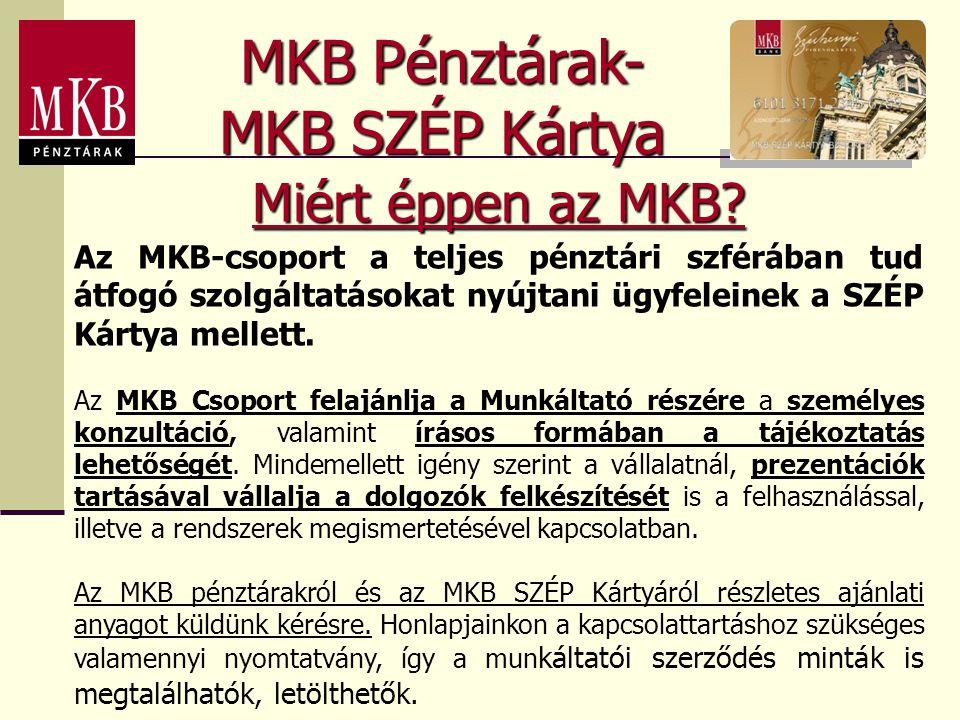 MKB Pénztárak- MKB SZÉP Kártya Miért éppen az MKB? Az MKB-csoport a teljes pénztári szférában tud átfogó szolgáltatásokat nyújtani ügyfeleinek a SZÉP