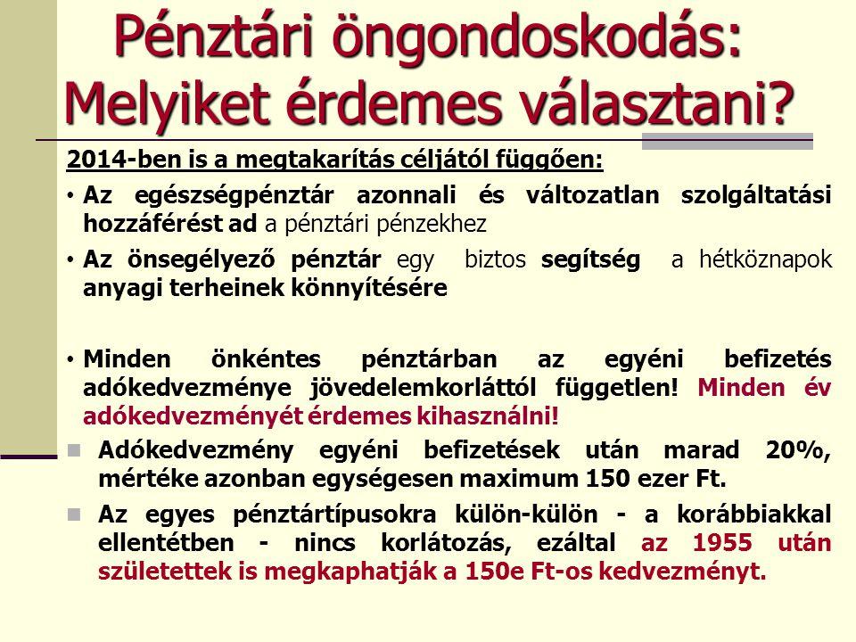 SZJA változások 2014-ben Új kedvezmény SZJA 44/C §: a nyugdíjbiztosításra fordított összeg 20 százalékáról, maximum évi 130 ezer forintról lehet a rendelkezni.