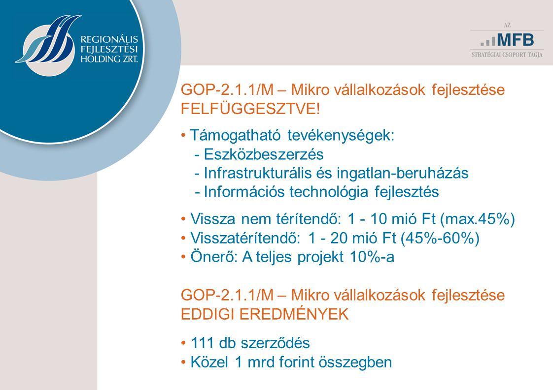 14 GOP-2.1.1/M – Mikro vállalkozások fejlesztése FELFÜGGESZTVE! Támogatható tevékenységek: -Eszközbeszerzés -Infrastrukturális és ingatlan-beruházás -
