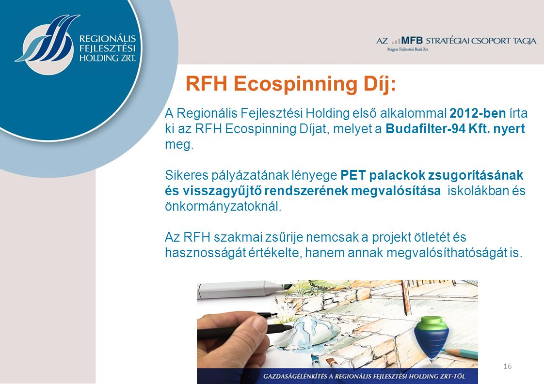 RFH Ecospinning Díj: A Regionális Fejlesztési Holding első alkalommal 2012-ben írta ki az RFH Ecospinning Díjat, melyet a Budafilter-94 Kft.