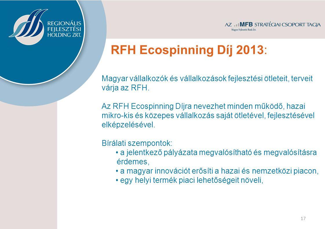 RFH Ecospinning Díj 2013: Magyar vállalkozók és vállalkozások fejlesztési ötleteit, terveit várja az RFH. Az RFH Ecospinning Díjra nevezhet minden műk