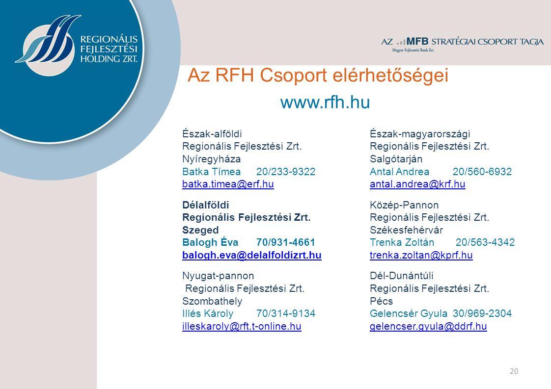 Az RFH Csoport elérhetőségei Észak-alföldi Regionális Fejlesztési Zrt. Nyíregyháza Batka Tímea20/233-9322 batka.timea@erf.hu Délalföldi Regionális Fej