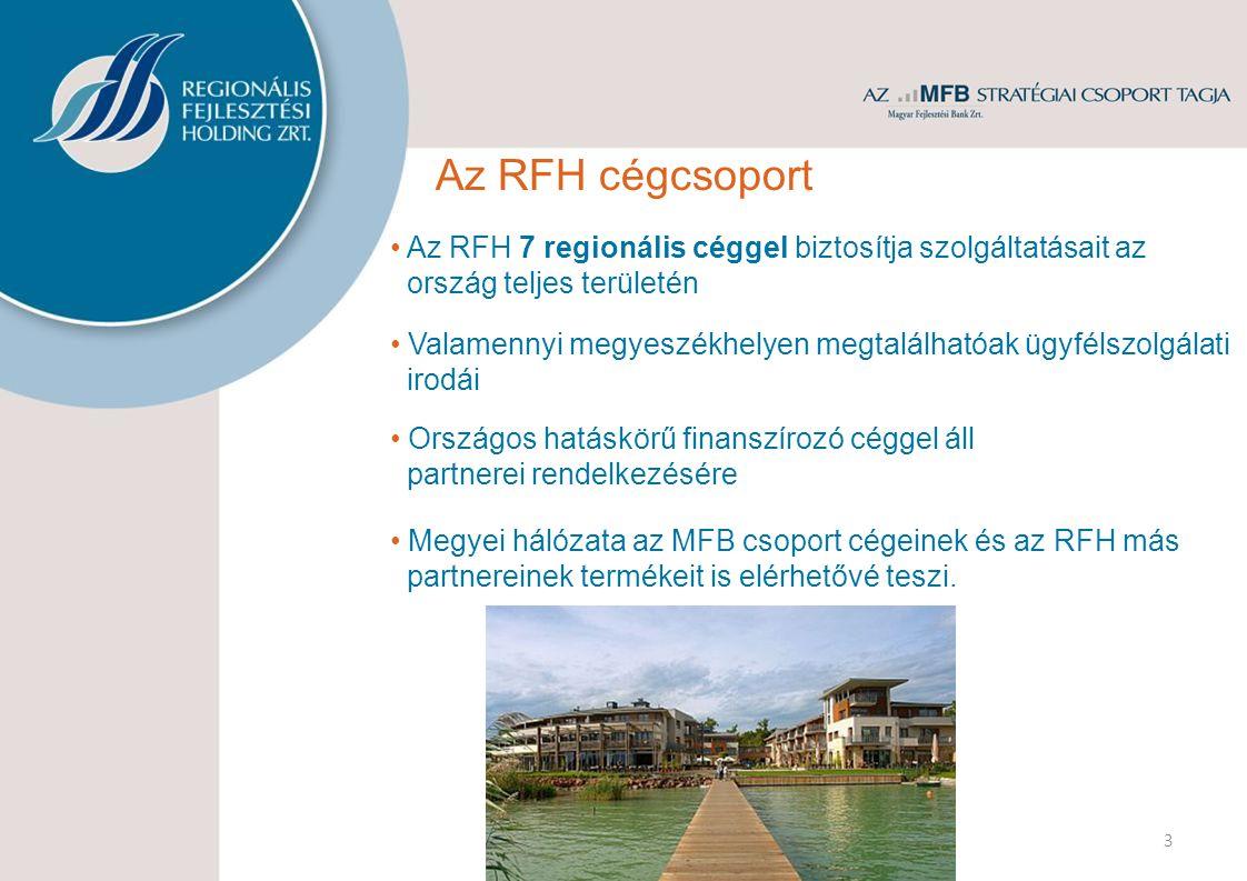 3 Az RFH cégcsoport Országos hatáskörű finanszírozó céggel áll partnerei rendelkezésére Az RFH 7 regionális céggel biztosítja szolgáltatásait az ország teljes területén Valamennyi megyeszékhelyen megtalálhatóak ügyfélszolgálati irodái Megyei hálózata az MFB csoport cégeinek és az RFH más partnereinek termékeit is elérhetővé teszi.