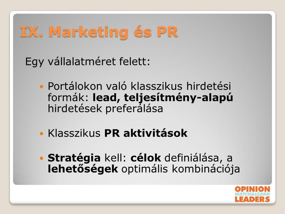 IX. Marketing és PR Egy vállalatméret felett: Portálokon való klasszikus hirdetési formák: lead, teljesítmény-alapú hirdetések preferálása Klasszikus