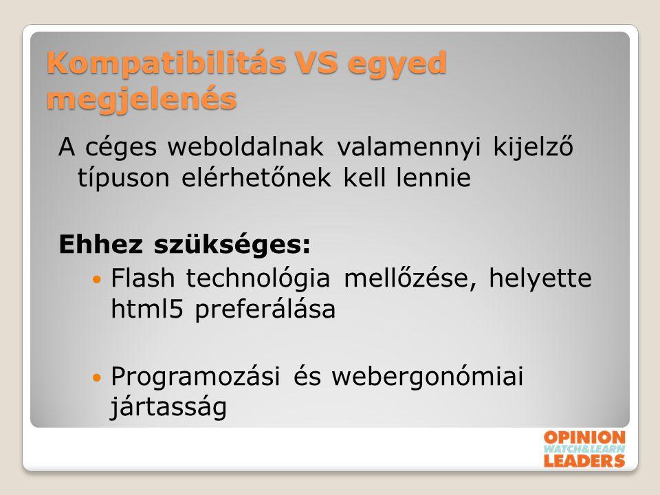 Kompatibilitás VS egyed megjelenés A céges weboldalnak valamennyi kijelző típuson elérhetőnek kell lennie Ehhez szükséges: Flash technológia mellőzése