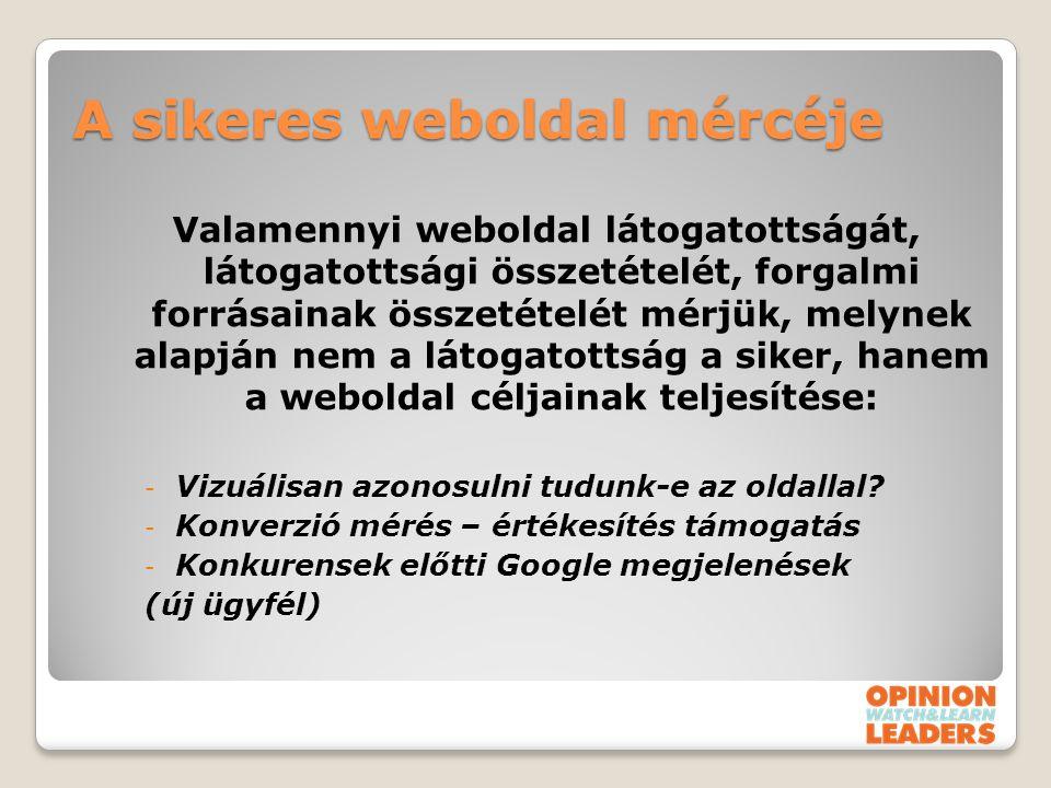 A sikeres weboldal mércéje Valamennyi weboldal látogatottságát, látogatottsági összetételét, forgalmi forrásainak összetételét mérjük, melynek alapján