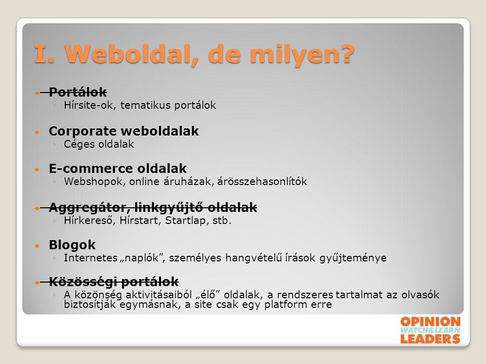 I. Weboldal, de milyen? Portálok ◦Hírsite-ok, tematikus portálok Corporate weboldalak ◦Céges oldalak E-commerce oldalak ◦Webshopok, online áruházak, á