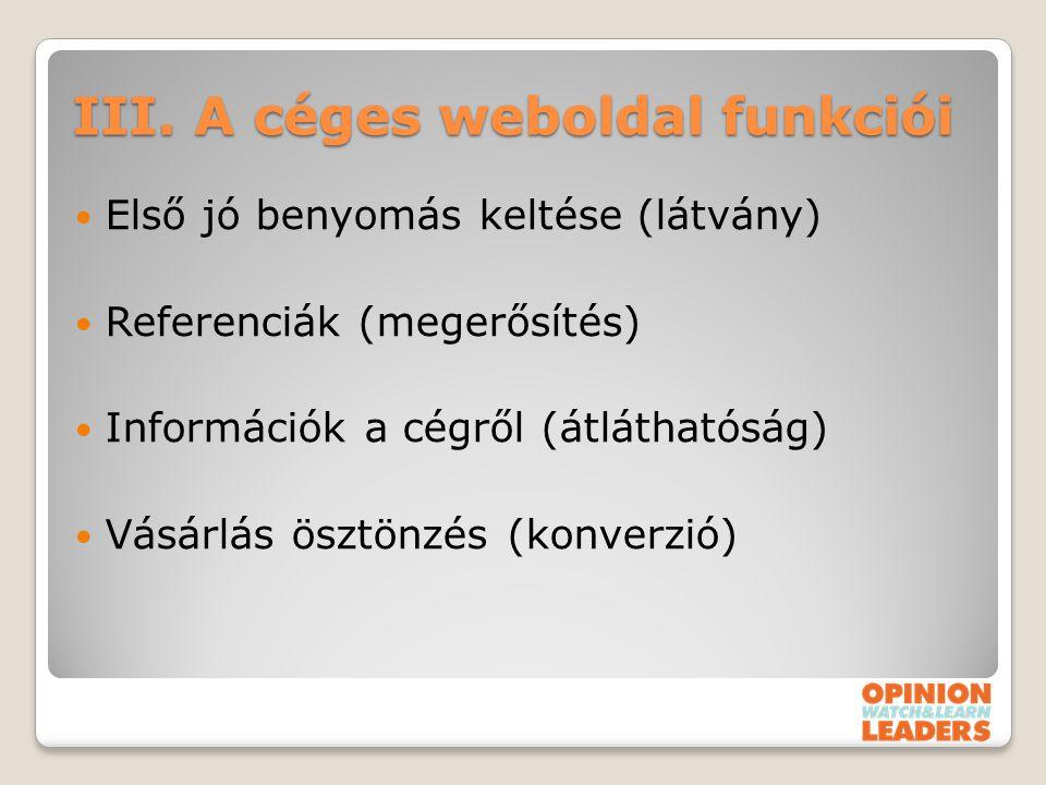 III. A céges weboldal funkciói Első jó benyomás keltése (látvány) Referenciák (megerősítés) Információk a cégről (átláthatóság) Vásárlás ösztönzés (ko