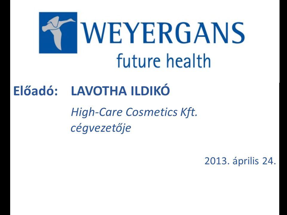 Előadó: LAVOTHA ILDIKÓ High-Care Cosmetics Kft. cégvezetője 2013. április 24.