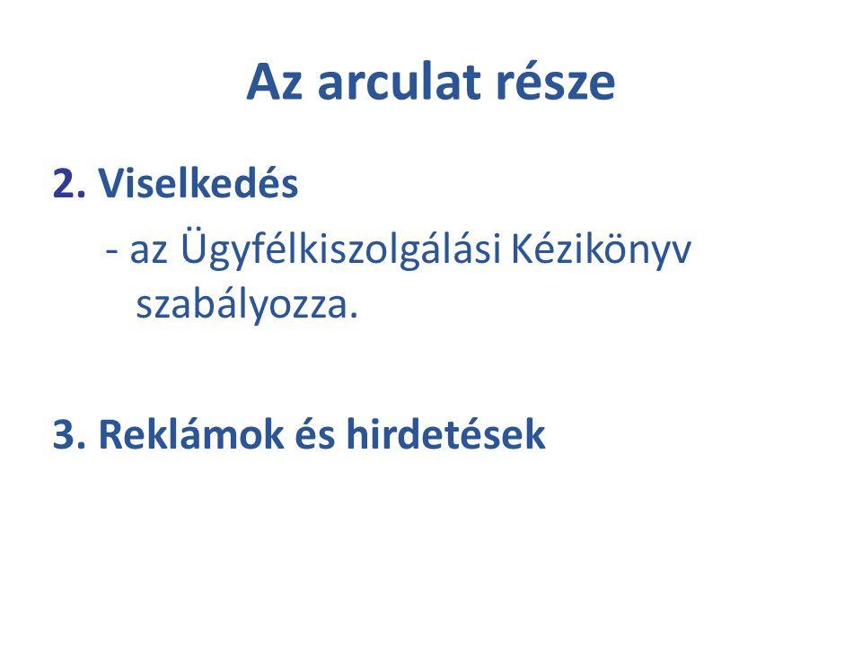 Az arculat része 2. Viselkedés - az Ügyfélkiszolgálási Kézikönyv szabályozza. 3. Reklámok és hirdetések