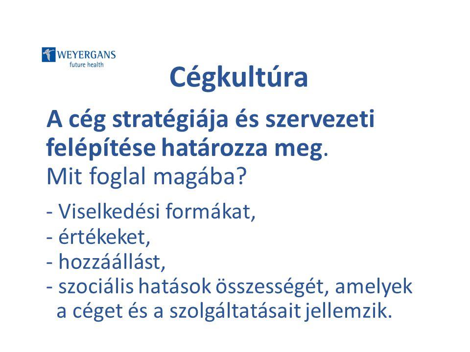 Cégkultúra A cég stratégiája és szervezeti felépítése határozza meg. Mit foglal magába? - Viselkedési formákat, - értékeket, - hozzáállást, - szociáli
