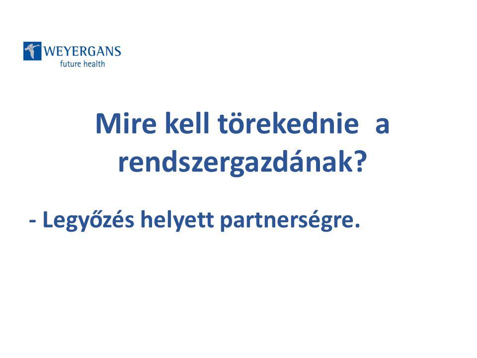 Aktív részvétel kialakítása - Motivált partnerek, - motivált munkatársak, és - rendszeres kommunikáció által (meetingek, tréningek, központi események).