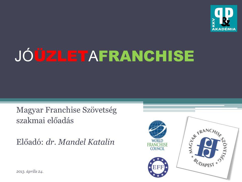 JÓ ÜZLET A FRANCHISE Magyar Franchise Szövetség szakmai előadás Előadó: dr.