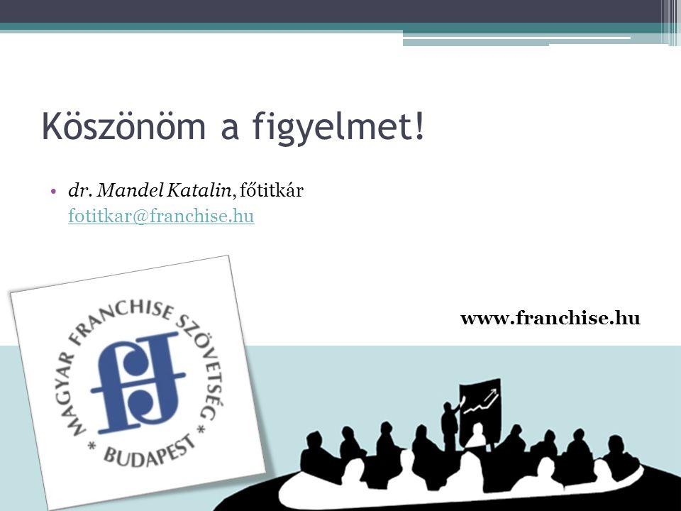 Köszönöm a figyelmet! dr. Mandel Katalin, főtitkár fotitkar@franchise.hu www.franchise.hu