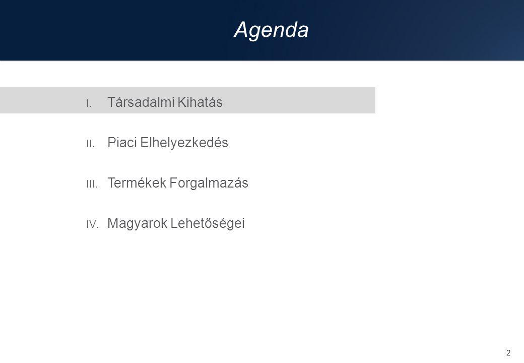 2 I. Társadalmi Kihatás II. Piaci Elhelyezkedés III. Termékek Forgalmazás IV. Magyarok Lehetőségei Agenda