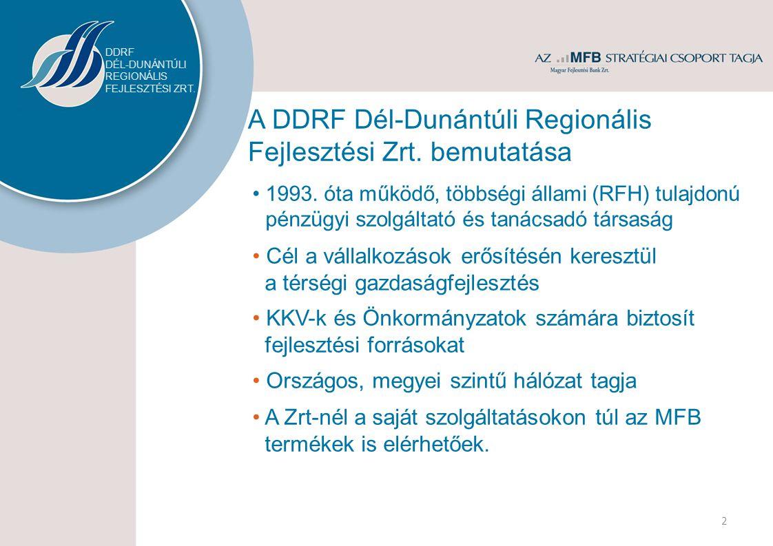 A DDRF Dél-Dunántúli Regionális Fejlesztési Zrt. bemutatása 1993.