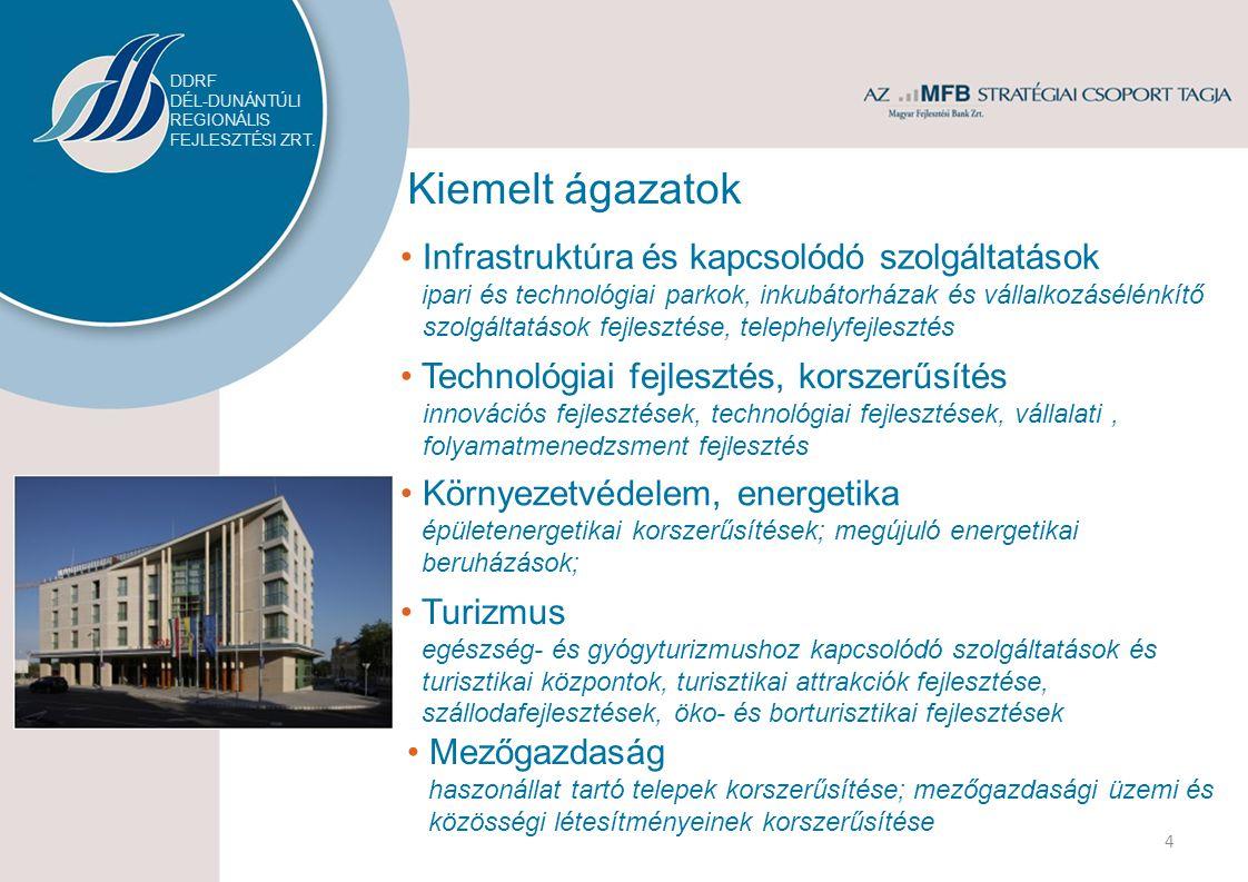 Kiemelt ágazatok Infrastruktúra és kapcsolódó szolgáltatások ipari és technológiai parkok, inkubátorházak és vállalkozásélénkítő szolgáltatások fejlesztése, telephelyfejlesztés Környezetvédelem, energetika épületenergetikai korszerűsítések; megújuló energetikai beruházások; Turizmus egészség- és gyógyturizmushoz kapcsolódó szolgáltatások és turisztikai központok, turisztikai attrakciók fejlesztése, szállodafejlesztések, öko- és borturisztikai fejlesztések Mezőgazdaság haszonállat tartó telepek korszerűsítése; mezőgazdasági üzemi és közösségi létesítményeinek korszerűsítése 4 Technológiai fejlesztés, korszerűsítés innovációs fejlesztések, technológiai fejlesztések, vállalati, folyamatmenedzsment fejlesztés DDRF DÉL-DUNÁNTÚLI REGIONÁLIS FEJLESZTÉSI ZRT.