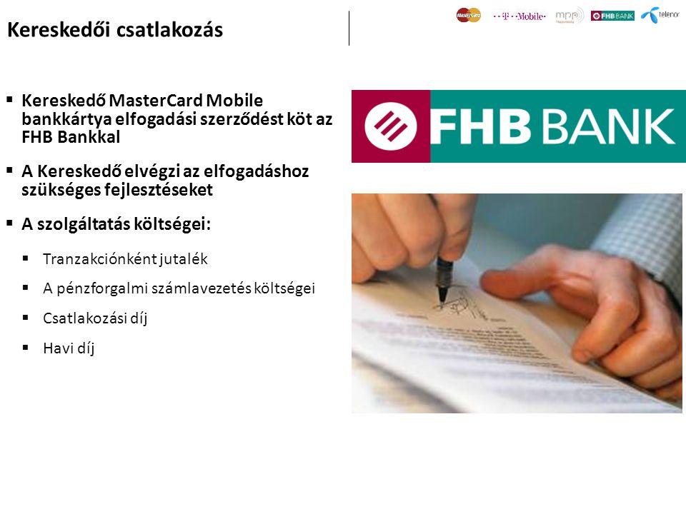  Kereskedő MasterCard Mobile bankkártya elfogadási szerződést köt az FHB Bankkal  A Kereskedő elvégzi az elfogadáshoz szükséges fejlesztéseket  A s