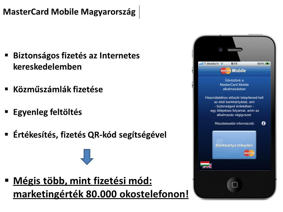 MasterCard Mobile Magyarország  Biztonságos fizetés az Internetes kereskedelemben  Közműszámlák fizetése  Egyenleg feltöltés  Értékesítés, fizetés