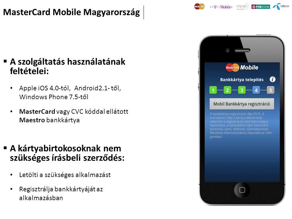  A szolgáltatás használatának feltételei: Apple iOS 4.0-tól, Android2.1- től, Windows Phone 7.5-től MasterCard vagy CVC kóddal ellátott Maestro bankk