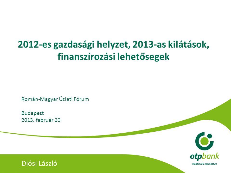2012-es gazdasági helyzet, 2013-as kilátások, finanszírozási lehetősegek Román-Magyar Üzleti Fórum Budapest 2013. február 20 Diósi László