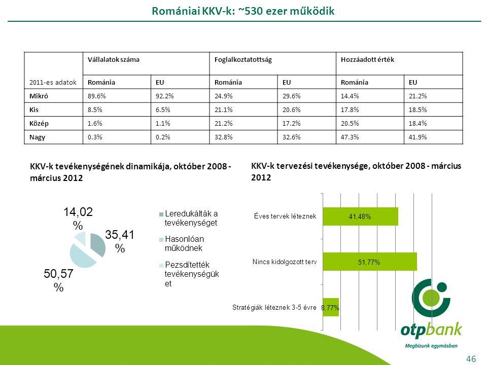 Romániai KKV-k: ~530 ezer működik 46 2011-es adatok Vállalatok száma Foglalkoztatottság Hozzáadott érték RomániaEURomániaEURomániaEU Mikró89.6%92.2%24.9%29.6%14.4%21.2% Kis8.5%6.5%21.1%20.6%17.8%18.5% Közép1.6%1.1%21.2%17.2%20.5%18.4% Nagy0.3%0.2%32.8%32.6%47.3%41.9% KKV-k tevékenységének dinamikája, október 2008 - március 2012 KKV-k tervezési tevékenysége, október 2008 - március 2012