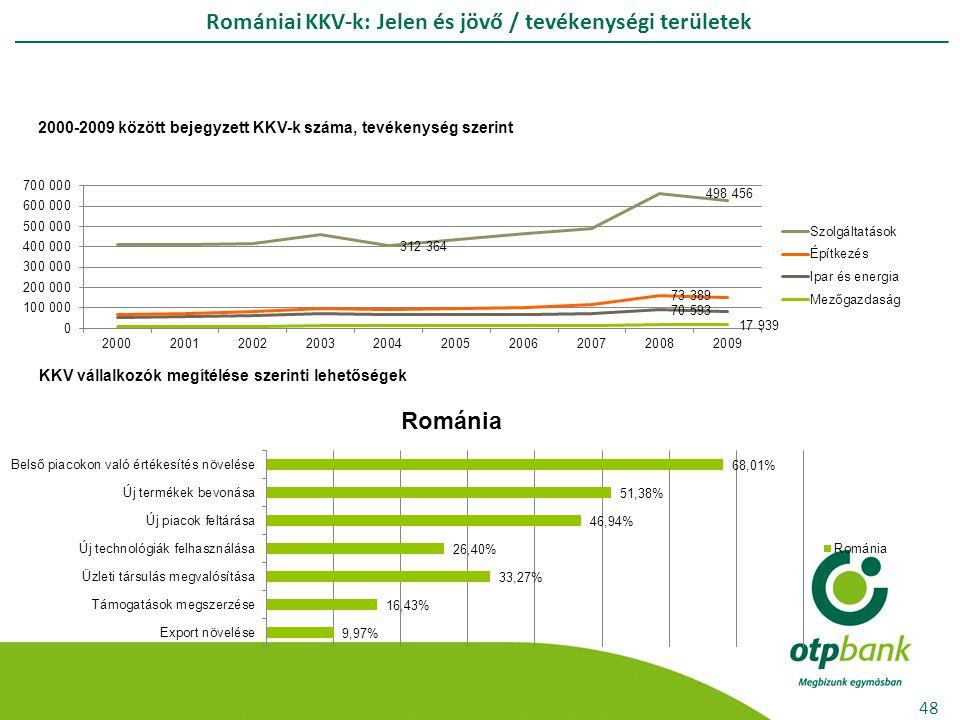 Romániai KKV-k: Jelen és jövő / tevékenységi területek 48 2000-2009 között bejegyzett KKV-k száma, tevékenység szerint KKV vállalkozók megítélése szerinti lehetőségek