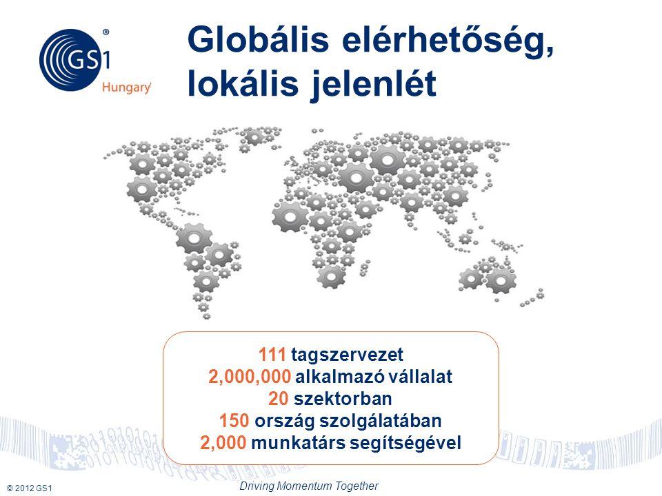 © 2012 GS1 Driving Momentum Together Globális elérhetőség, lokális jelenlét 111 tagszervezet 2,000,000 alkalmazó vállalat 20 szektorban 150 ország szolgálatában 2,000 munkatárs segítségével