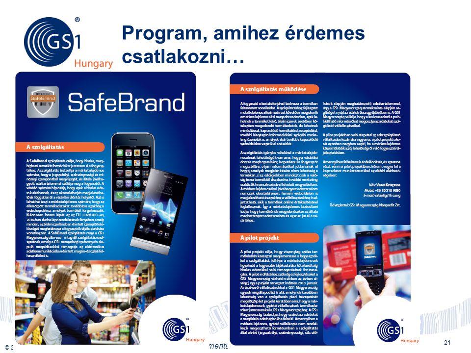 © 2012 GS1 Driving Momentum Together Program, amihez érdemes csatlakozni… 21
