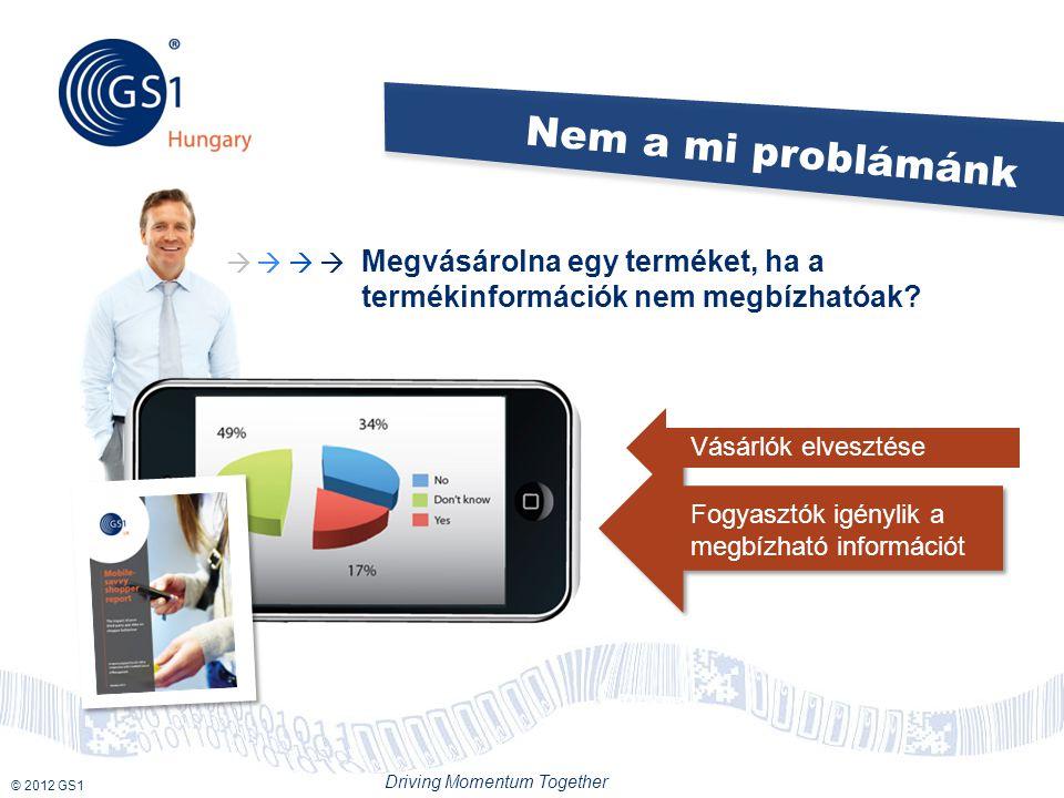 © 2012 GS1 Driving Momentum Together Nem a mi problámánk Megvásárolna egy terméket, ha a termékinformációk nem megbízhatóak.