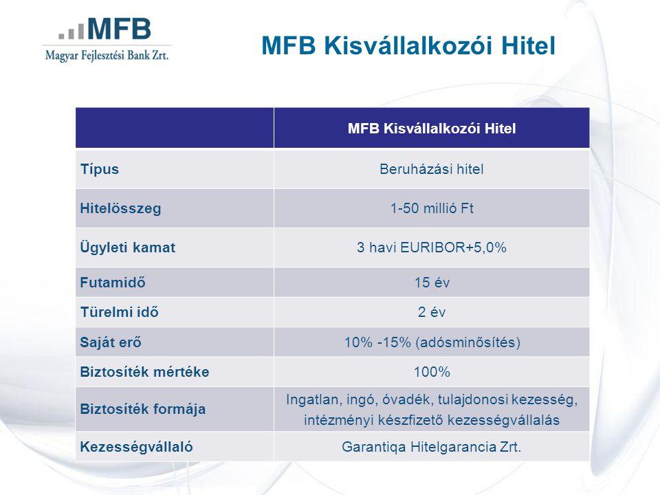 MFB Kisvállalkozói Hitel TípusBeruházási hitel Hitelösszeg1-50 millió Ft Ügyleti kamat3 havi EURIBOR+5,0% Futamidő15 év Türelmi idő2 év Saját erő10% -