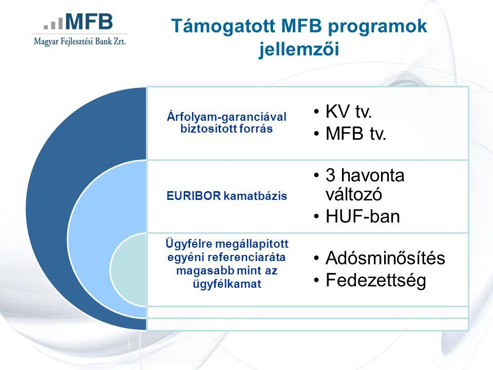 Támogatott MFB programok jellemzői Árfolyam-garanciával biztosított forrás EURIBOR kamatbázis Ügyfélre megállapított egyéni referenciaráta magasabb mi